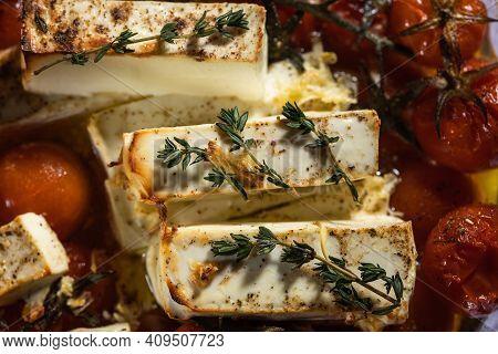 Oven Baked Homemade Tiktok Feta Pasta, Baked Cherry Tomatoes And Feta Cheese, Preparing Pasta