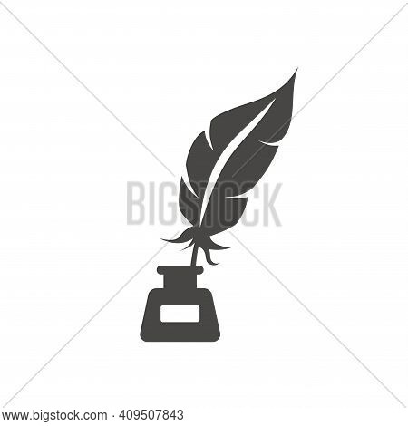 Quill Pen With Inkwell Black Vector Icon. Feather With Ink Bottle Or Well Symbol.