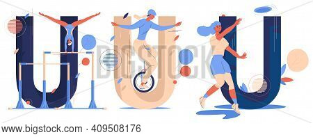 Sport Letters U Collection Isolated On White. Uneven Bars Training, Ultimate Player With Flying Disk