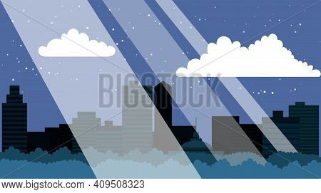 Night City With Skyscrapers, Business Buildings, Clouds, Blue Sky. City Center Downtown Cityscape Vi