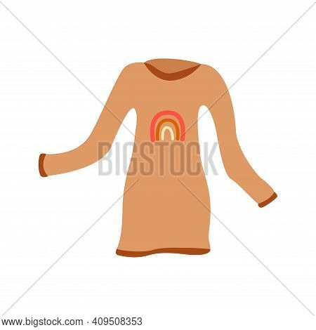 Beige Dress With Print In The Form Of A Rainbow. Piece Of Clothing, Cozy Womans Dress, Tunic. Colorf