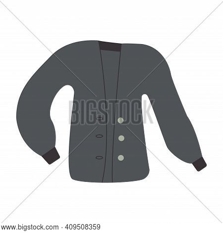 Cozy Jacket With Sleeves Buttoned. Blue Jacket. Piece Of Clothing, Fashion. Colorful Vector Isolated