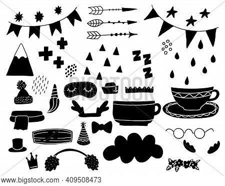Doodle Geometric Abstract Trendy Scandinavian Black Shapes. Vector Hand Drawn Monochrome Elemens For
