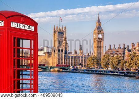 London Symbols With Big Ben, Double Decker Buses And Red Phone Booth In England, Uk