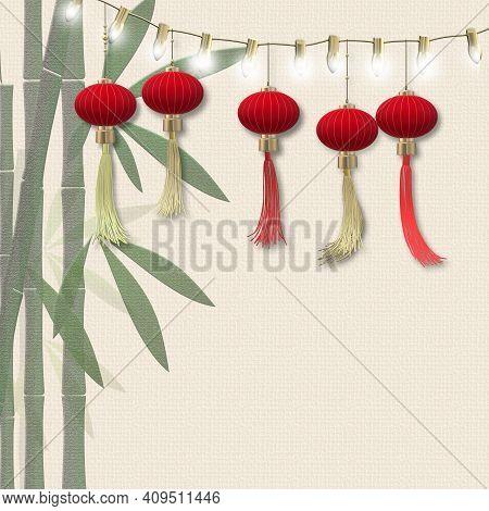 Lantern Festival, Mid Autumn Lantern Celebration. Traditional Chinese Lanterns, Bamboo On Pastel Yel