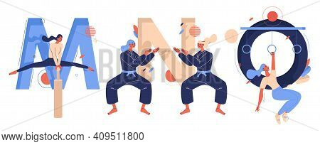 Letters M For Mallakhamb Yoga, N For Ninjutsu Martial Arts Fighters, O For Obstacle Course Racing Wo