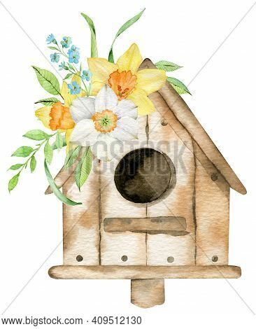 Spring Bird House With Yellow Narcissuses And Forget-me-not Flowers. Watercolor Hand-drawn Illustrat