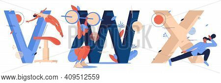 Vector Sport Letters Collection With Woman Characters During Training. V For Vaulting Table Jump, W