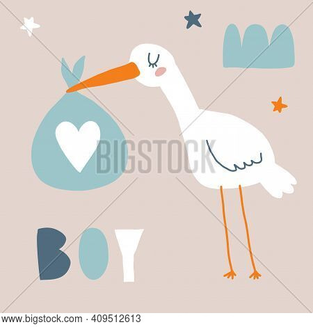 Baby Shower Vector Card With Funny White Stork Holding Big Blue Bag. Cute Hand Drawn Illustration Fo