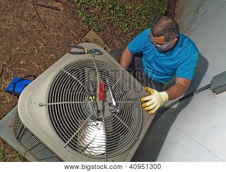 Male hispanic air conditioning and heating technician repairman poster