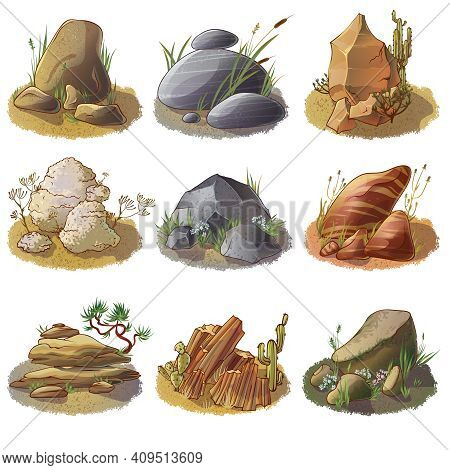 Mineral Stones On Ground Collection Of Different Rocks In Natural Environment Isolated Vector Illust