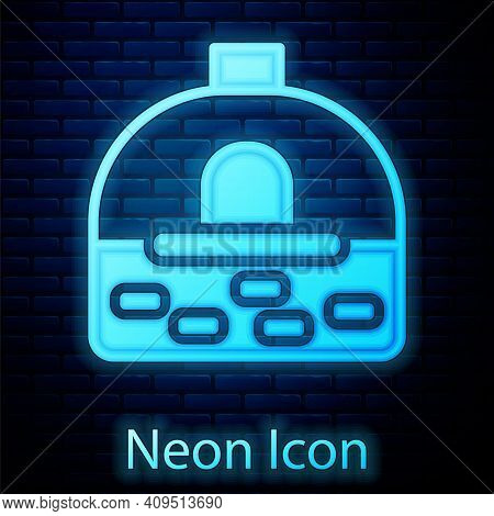 Glowing Neon Brick Stove Icon Isolated On Brick Wall Background. Brick Fireplace, Masonry Stove, Sto