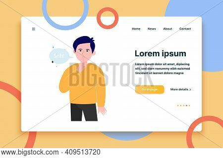 Young Serious Man With Silence Hand Gesture Flat Vector Illustration. Cartoon Shh Guy Holding Forefi
