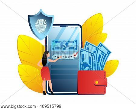 Payment Security Or Mobile Payment Concept. Young Woman Insert Credit Or Debit Card As Payment Metho