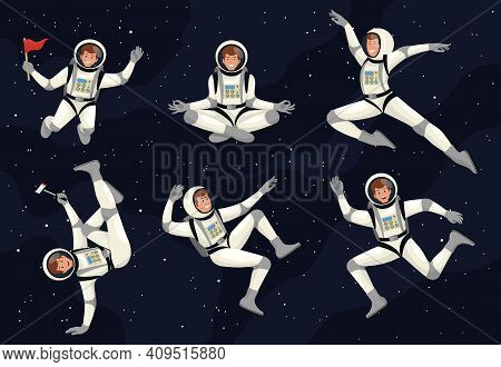Spaceman Cosmonaut Science Icon Space Set. People Wearing Spacesuits In Different Poses. Cartoon Ast