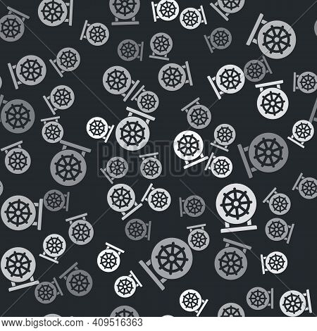 Grey Dharma Wheel Icon Isolated Seamless Pattern On Black Background. Buddhism Religion Sign. Dharma