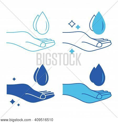 Hand Washing Icon. Silhouette Of Water-drop And Hand. Outline Symbol. Prevention Against Viruses, Ba