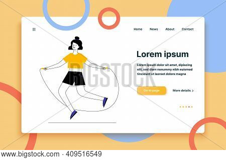 Young Woman Jumping Rope. Female Character Warming Up Flat Vector Illustration. Body Training Workou