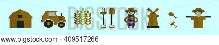 Set Of Peasant And Tools Cartoon Icon Design Template With Various Models. Modern Vector Illustratio