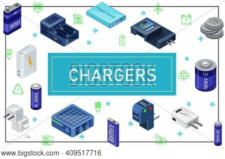 Isometric Modern Charging Sources Concept With Plugs Chargers Batteries Of Different Capacity In Fra