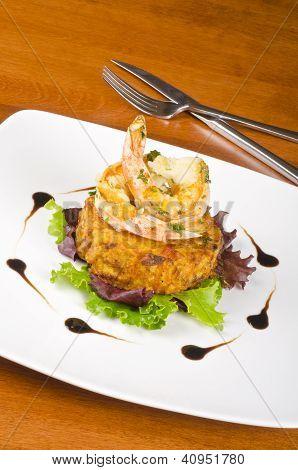 Garlic Shrimps and Latke on a Bed of Lettuce