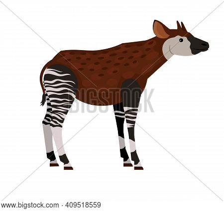 Unique Tropical Animal. Cartoon Exotic Beast Of Wildlife, Hoofed Animal With Horns, Vector Illustrat
