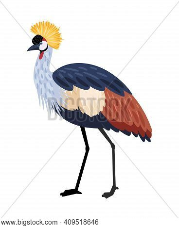 Bird With Long Legs. Cartoon Colored Exotic Character Of Nature With Beak And Feathers, Vector Illus