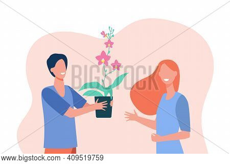 Happy Guy Giving Home Flower To Girlfriend. Potted Plant, Houseplant, Floral Stem. Flat Vector Illus