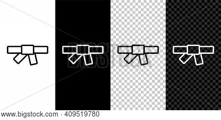 Set Line Black Karate Belt Icon Isolated On Black And White, Transparent Background. Vector