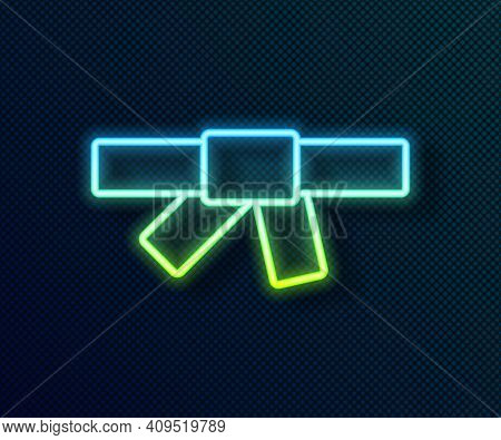 Glowing Neon Line Black Karate Belt Icon Isolated On Black Background. Vector