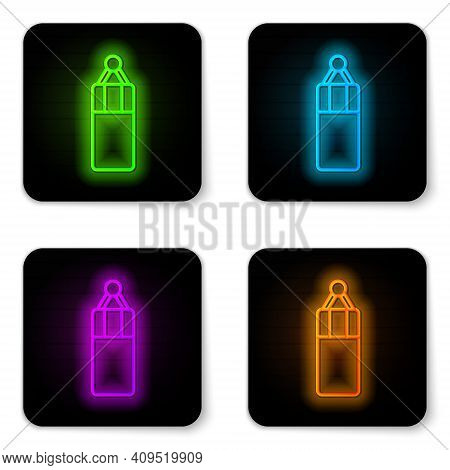 Glowing Neon Line Punching Bag Icon Isolated On White Background. Black Square Button. Vector