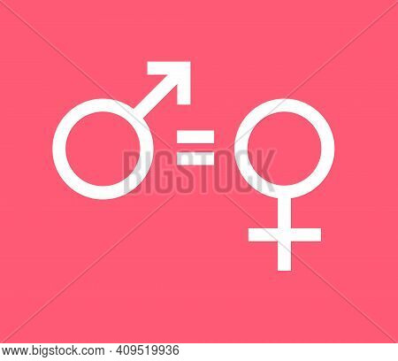 Vector White Flat Woman Equality Sign Isolated On Pink Background. Feminist Woman Rights Illustratio