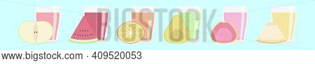 Set Of Guava Juice Cartoon Icon Design Template With Various Models. Modern Vector Illustration Isol