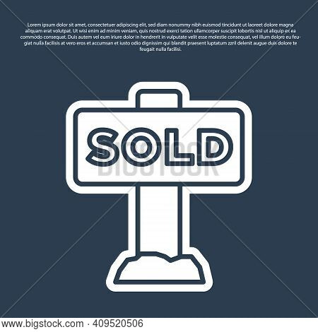 Blue Line Hanging Sign With Text Sold Icon Isolated On Blue Background. Sold Sticker. Sold Signboard