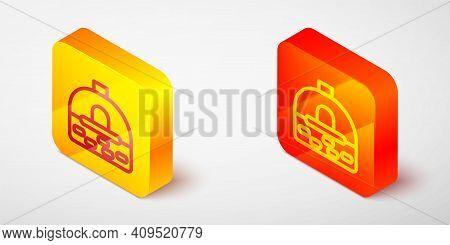 Isometric Line Brick Stove Icon Isolated On Grey Background. Brick Fireplace, Masonry Stove, Stone O