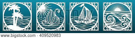 Set Of Laser Cut Emplates.decorative Panels Or Tiles For Cnc Cutting. Summer Sea Landscapes With Wav
