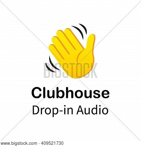 Hand Icon For Invite In Clubhouse Social Network. Clubhouse Invite Symbol Isolated On White Backgrou