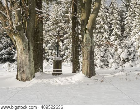 Baroque Iron Cross On Sandstone Pedestal With Crucifix Along Snowy Path With Big Beech Trees At Snow