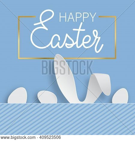 Easter Background With Egg And Rabbit Ears. International Spring Celebration Design With Typography