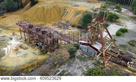 Rusty Machinery At The Old Copper Mine, Aerial View