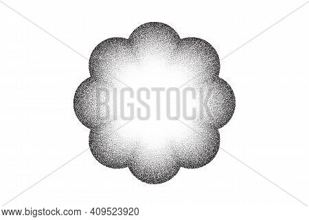 Dotwork Flower Pattern Vector Background. Sand Grain Effect. Black Noise Stipple Dots. Abstract Nois