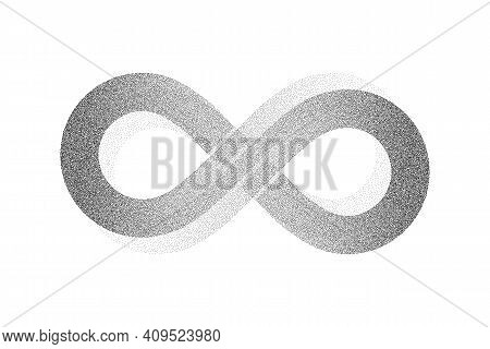 Dotwork Infinity Symbol Pattern Vector Background. Sand Grain Effect. Black Noise Stipple Dots. Abst