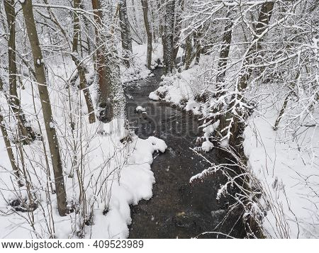 Snow Covered Forest Water Stream, Creek With Trees, Branches And Stones, Idyllic Winter Landscape In