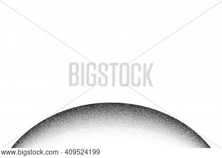 Dotwork Planet Pattern Vector Background. Sand Grain Effect. Black Noise Stipple Dots. Abstract Nois