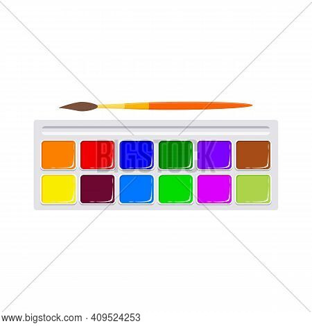 Set Of Multi-colored Watercolor Paints With Brush, Isolated On White Background. Art Supplies For Ki