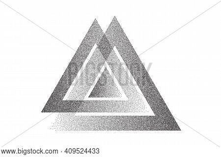 Dotwork Triangles Pattern Vector Background. Sand Grain Effect. Black Noise Stipple Dots. Abstract N