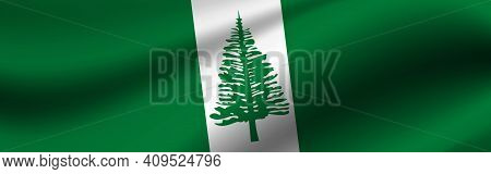 Banner With The Flag Of Norfolk Island. Fabric Texture Of The Flag Of Norfolk Island.