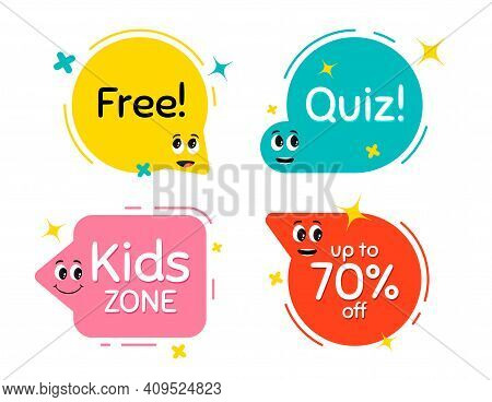 Speech Bubbles With Face Emotions. Smile Face, Surprised And Interested Character Emotions. Kids Zon
