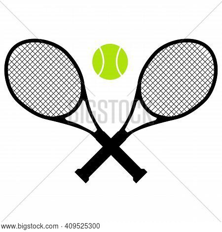 Tennis Icon On White Background. Tennis Racket. Sports Sign. Tennis Logo. Flat Style.