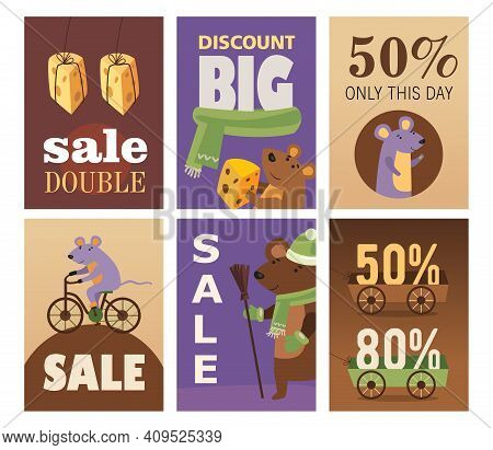 Big Sale Brochure Designs With Cheese And Mice. Bright Promotion For Shop Or Store. Rodent Animals A
